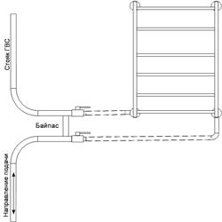 Рисунок 17. Подключение ПС-лесенки, работающее на сочетании принудительной и естественной циркуляций, со смещением байпаса. Нижнее подключение.