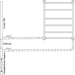 Рисунок 18. Подключение ПС-лесенки, работающее на сочетании принудительной и естественной циркуляций, с заужением байпаса. Нижнее подключение.