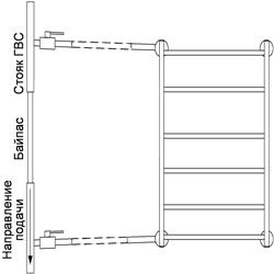 Рисунок 21. Подключение ПС-лесенки, работающее на сочетании принудительной и естественной циркуляций, с заужением байпаса. Боковое подключение.