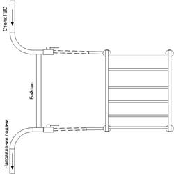 Рисунок 22. Подключение ПС-лесенки, работающее на сочетании принудительной и естественной циркуляций, со смещением байпаса. Боковое подключение.