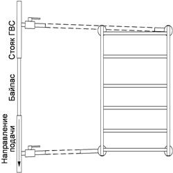 Рисунок 23. Подключение ПС-лесенки, работающее на сочетании принудительной и естественной циркуляций, с заужением байпаса. Диагональное подключение.