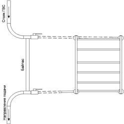 Рисунок 24. Подключение ПС-лесенки, работающее на сочетании принудительной и естественной циркуляций, со смещением байпаса. Диагональное подключение.