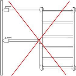 Рисунок 25. Боковое подключение, пример НЕВЕРНОГО исполнения 1.